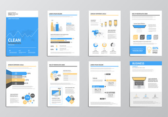 Yellow Accent Element Eight Page Infographics Layout Kit