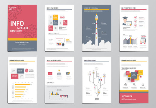Gear Element Eight Page Infographics Kit
