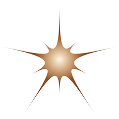 One brown with gradient star sign pattern on white background