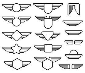 Wing army emblems, aviation badges, pilot labels line vector set