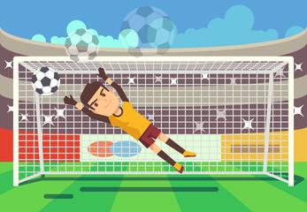 Soccer, football goalkeeper catching ball in goal vector illustration