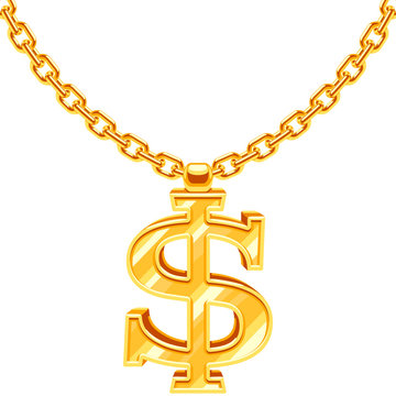 Gold dollar symbol on golden chain vector hip hop rap style necklace