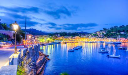 Wall Mural - Harbor and village  Porto Azzurro at blue hour, Elba islands, Tuscany, Italy