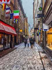 old  streets of a Christmas in Stockholm, Sweden