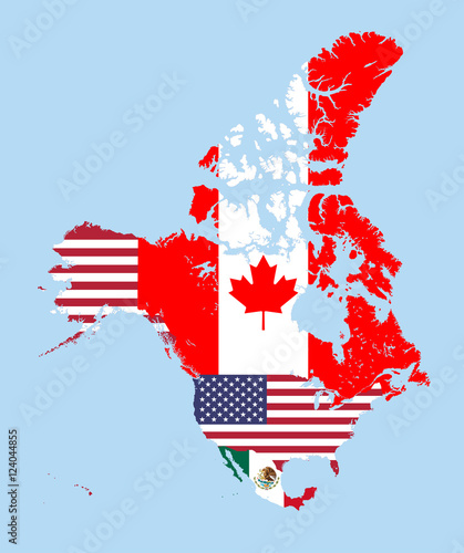 Canada, United States and Mexico map combined with flags ...