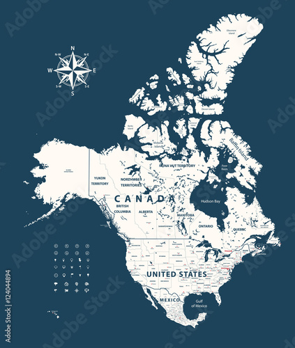 Canada, United States and Mexico vector map with states ...