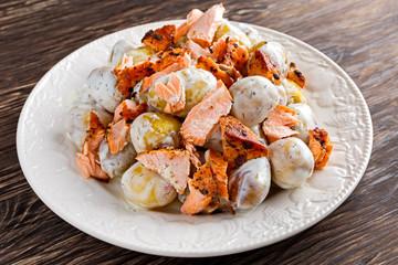 Salmon and young potato warm salad with a lemony yogurt dressing