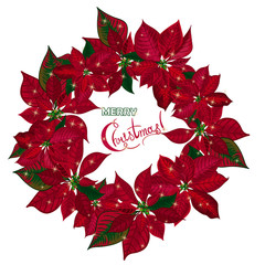 Vintage Christmas wreath with red poinsettia isolated on white background