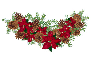 Vintage Christmas garland with pine cones and poinsettia isolated on white background
