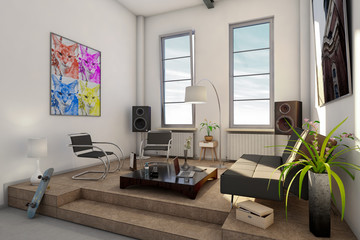 Loft, Apartment, Wohnung 3D-Simulation
