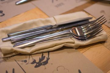 cutlery on a napkin