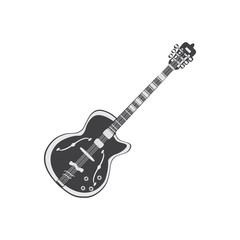Black and white electric Guitar, vector illustration