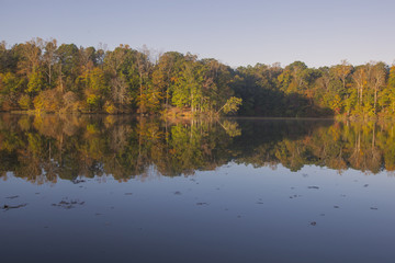 Autumn view of Lake Norman in Troutman, North Carolina.
