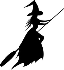 Silhouette of the flying witch. Vector illustration for halloween design