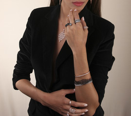 Pink gold jewelry on human model