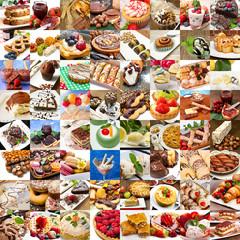 collage di differenti dessert della cucina internazione