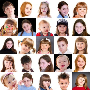 collage di visi di bambini di diversa età