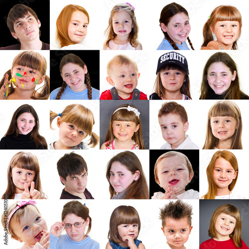 Collage Di Visi Di Bambini Di Diversa Età Immagini E Fotografie