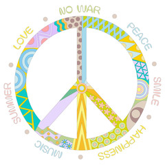 Peace symbol concept with different words, isolated on white background
