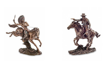 Feud of American Indian with a cowboy, figurines