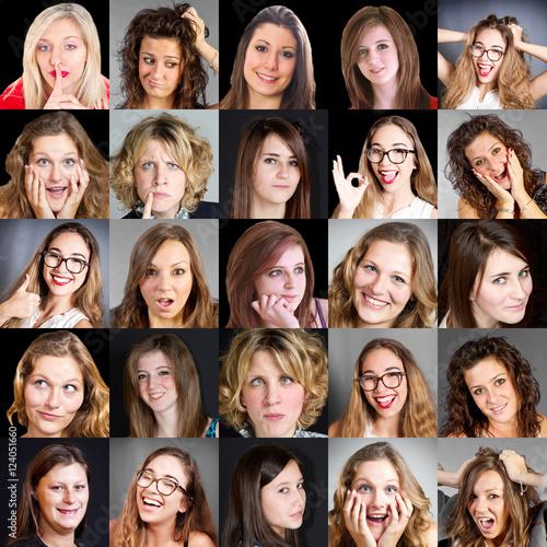 Collage Di Visi Di Donna Con Diverse Espressioni Immagini E