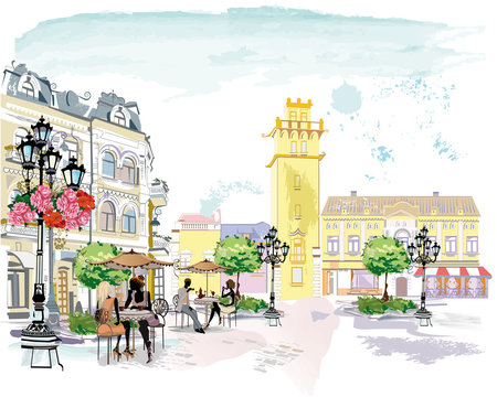 Series of the street cafes with people, men and women, in the old city, watercolor vector illustration.
