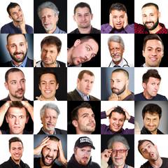 collage di visi di uomini con diverse espressioni