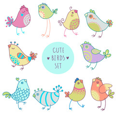 Vector cartoon style birds set