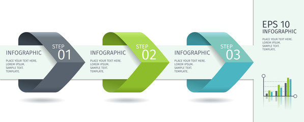 Infographic arrows with step up options. Vector template in flat design style.