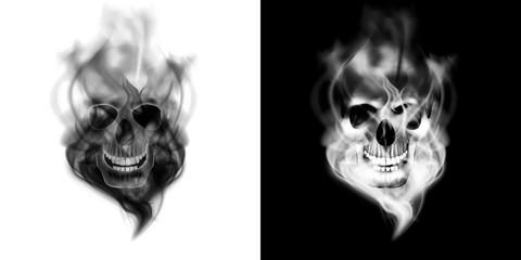human skull in the smoke