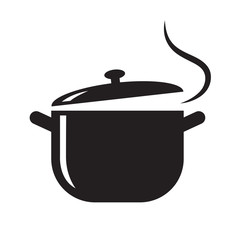 black pot icon, vector