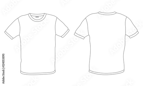 White Mens T Shirt Template Vector Front And Back View