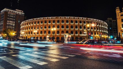 Night view of a Bullring Arena in Valencia