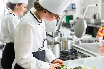 Female chefs at work in system catering