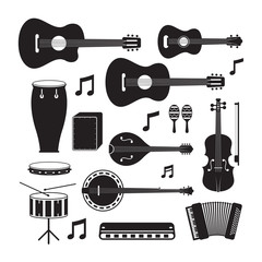 Music Instruments Acoustic Silhouette Objects Set, Black and White Symbol and Icons Vector