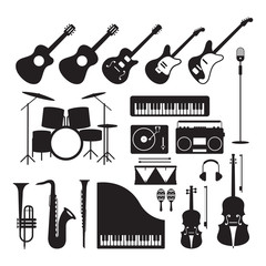 Music Instruments Silhouette Objects Set, Black and White Symbol and Icons Vector