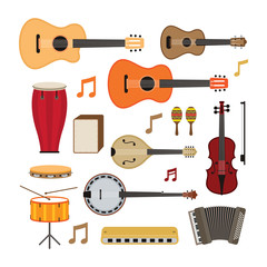 Music Instruments Acoustic Objects Set, Flat Design Symbol and Icons Vector