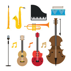 Jazz Music Instruments Objects Set, Flat Design Symbol and Icons Vector