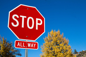 Stop sign with changing colors of autumn trees