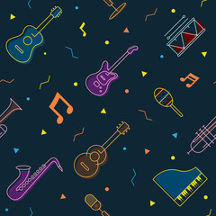 Music Instruments Objects Seamless Pattern, Line Design, Festival, Event, Live, Concert