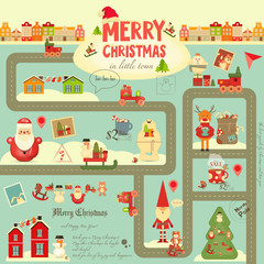 Christmas characters on City Map