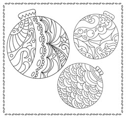Adult or teen coloring page with Christmas or New Year doodle illustration.