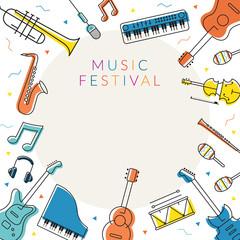Music Instruments Objects Frame, Line Design, Festival, Event, Live, Concert