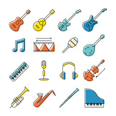 Music Instruments Objects Icons Set, Line Design, Festival, Event, Live, Concert