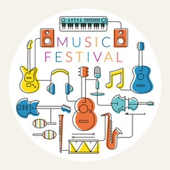 Music Instruments Objects Label, Line Design, Festival, Event, Live, Concert