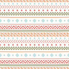 Tribal hand drawn line geometric mexican ethnic seamless pattern. Border. Wrapping paper. Scrapbook. Doodles. Vintage tiling. Handmade native vector illustration. Aztec background. Ink graphic texture