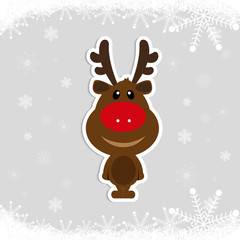 Little Deer with antlers on a background of falling snowflakes. Frosty background. Christmas sticker.