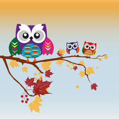 Owl sitting on a branch decorated with a simple pattern. Background design for printing on textiles.