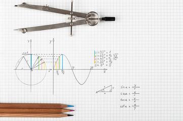 Sine function - maths concept