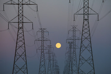 Power Transmission Lines At Dusk; Beaumont, Alberta, Canada